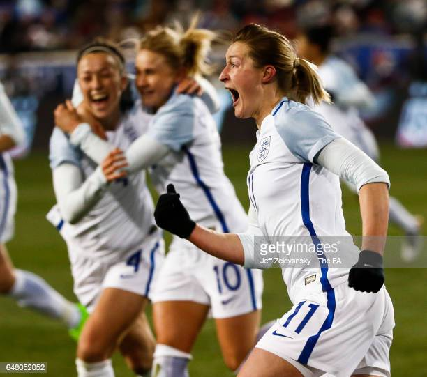 Ellen White of England reacts to her goal against the USA during the 2017 SheBelieves Cup at Red Bull Arena on March 4, 2017 in Harrison, New Jersey.