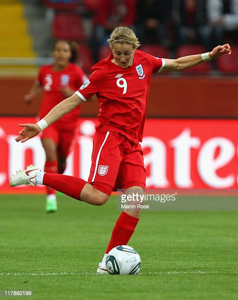 Ellen White of England runs with the ball during the FIFA Women's World Cup 2011 Group B match between New Zealand and England at RudolfHarbigStadion...