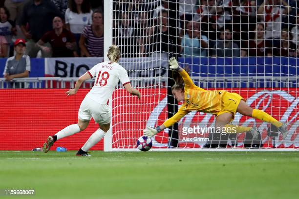 Ellen White of England scores a goal however it is disallowed following a VAR review during the 2019 FIFA Women's World Cup France Semi Final match...