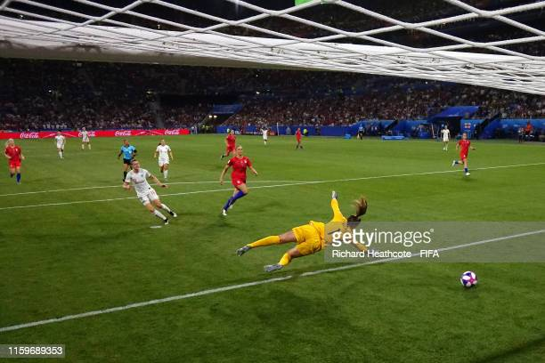Ellen White of England scores a goal past Alyssa Naeher of the USA which is then disallowed for offside following a VAR review during the 2019 FIFA...