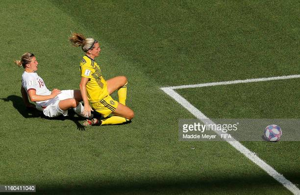 Ellen White of England scores a goal which is then disallowed for handball following a VAR review during the 2019 FIFA Women's World Cup France 3rd...