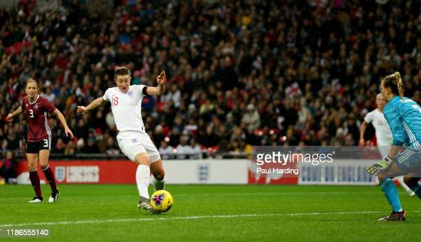 Ellen White of England scores her sides first goal during the International Friendly between England Women and Germany Women at Wembley Stadium on...