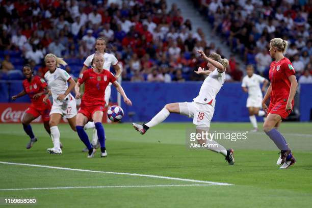 Ellen White of England scores her team's first goal during the 2019 FIFA Women's World Cup France Semi Final match between England and USA at Stade...