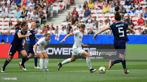 Ellen White of England scores her team's second goal during the 2019 FIFA Women's World Cup France group D match between England and Scotland at...