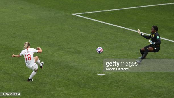 Ellen White of England scores her team's second goal during the 2019 FIFA Women's World Cup France Round Of 16 match between England and Cameroon at...