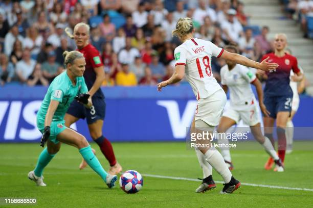 Ellen White of England scores her team's second goal during the 2019 FIFA Women's World Cup France Quarter Final match between Norway and England at...