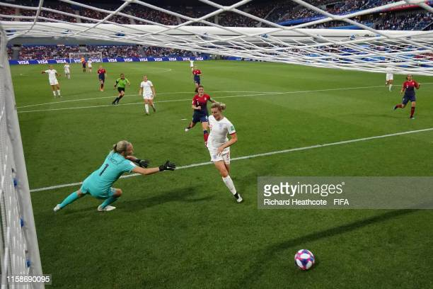 Ellen White of England scores her team's second goal past Ingrid Hjelmseth of Norway during the 2019 FIFA Women's World Cup France Quarter Final...