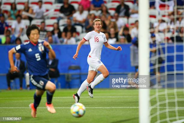 Ellen White of England scores the opening goal during the 2019 FIFA Women's World Cup France group D match between Japan and England at Stade de Nice...