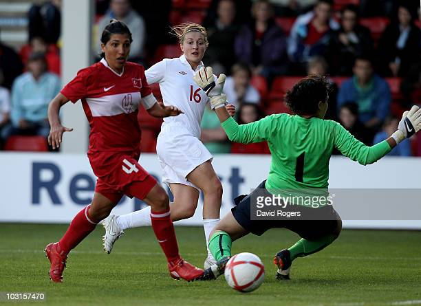 Ellen White of England scores the second goal during the FIFA Womens World Cup Qualifiying match between England and Turkey at the Banks's Stadium on...