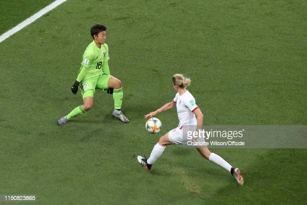 Ellen White of England scores their 1st goal past Japan goalkeeper Ayaka Yamashita during the 2019 FIFA Women's World Cup France group D match...