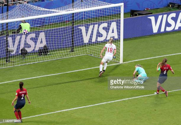 Ellen White of England scores their 2nd goal during the 2019 FIFA Women's World Cup France Quarter Final match between Norway and England at on June...