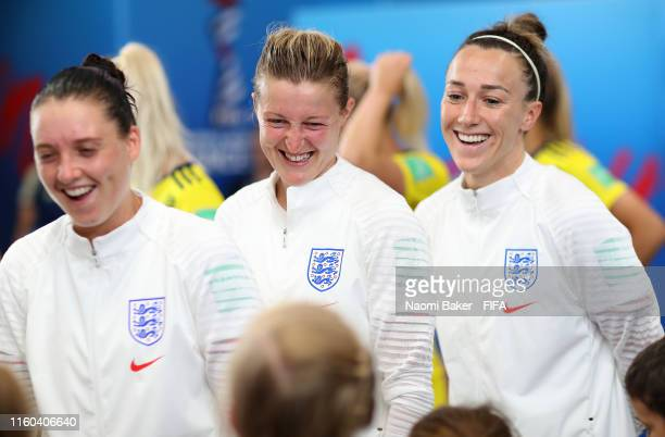 Ellen White of England speaks with her mascot in the tunnel prior to the 2019 FIFA Women's World Cup France 3rd Place Match match between England and...