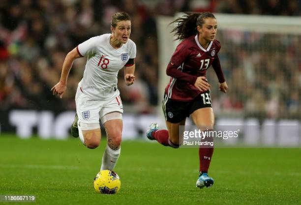 Ellen White of England Women and Sara Dabritz of Germany Women during the International Friendly between England Women and Germany Women at Wembley...