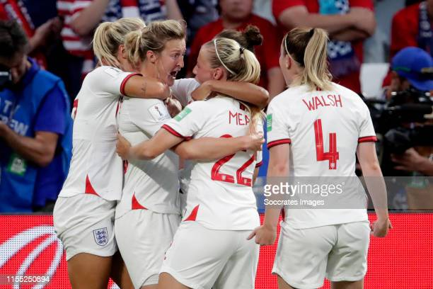 Ellen White of England Women, Beth Mead of England Women, Rachel Daly of England Women during the World Cup Women match between England v USA at the...