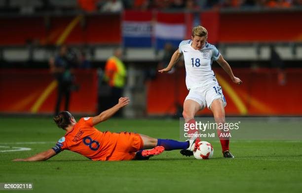 Ellen White of England Women is tackled by Sherida Spitse of Netherlands Women during the UEFA Women's Euro 2017 semi final match between Netherlands...