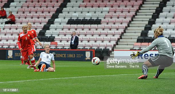 Ellen White of England Women scores the 2nd goal during the FIFA Women's World Cup 2015 Qualifier match between England Women and Belarus Women at...