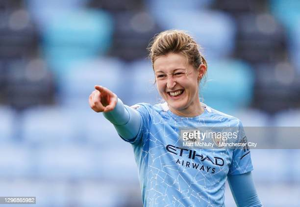 Ellen White of Manchester City celebrates after scoring during the Barclays FA Women's Super League match between Manchester City Women and Aston...