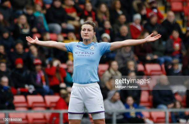 Ellen White of Manchester City celebrates after scoring his team's first goal during the Women's FA Cup Fourth Round match between Manchester United...