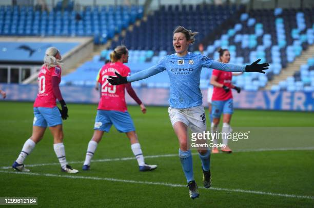 Ellen White of Manchester City celebrates after scoring their side's third goal during the Barclays FA Women's Super League match between Manchester...