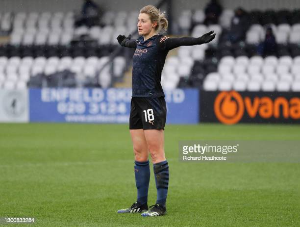 Ellen White of Manchester City celebrates after scoring their side's first goal during the Barclays FA Women's Super League match between Arsenal...
