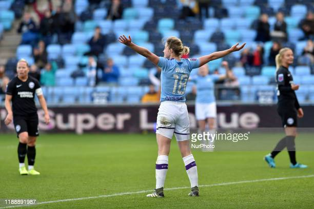 Ellen White of Manchester City celebrates scoring her sides second goal during the Barclays FA Women's Super League match between Manchester City and...