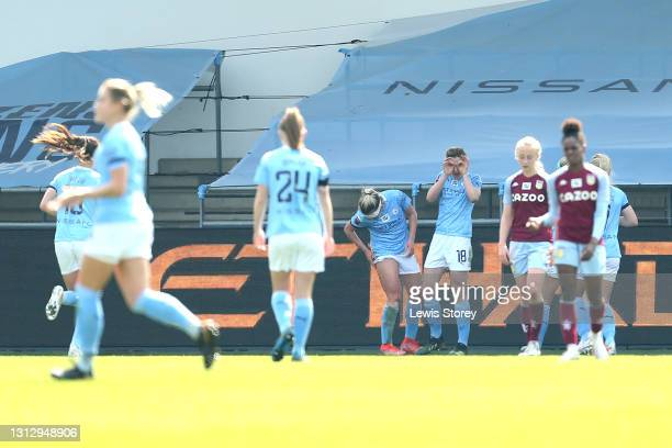 Ellen White of Manchester City celebrates with teammates after scoring their team's second goal during the Vitality Women's FA Cup Fourth Round match...