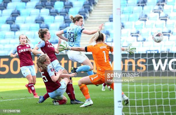 Ellen White of Manchester City scores her sides second goal during the Vitality Women's FA Cup Fourth Round match between Manchester City Women and...