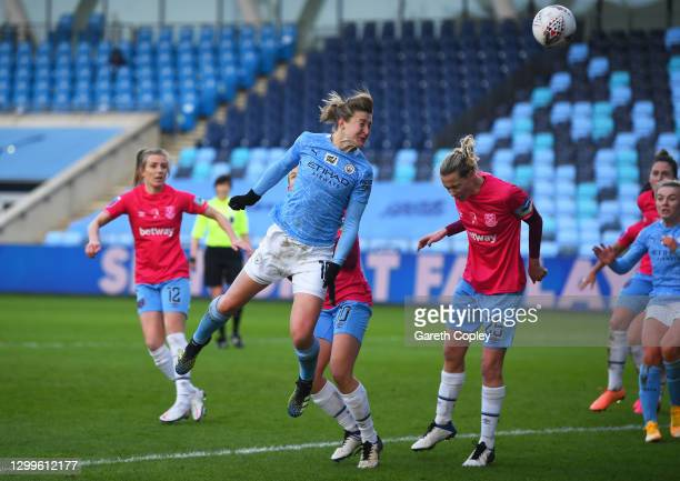 Ellen White of Manchester City scores their side's third goal during the Barclays FA Women's Super League match between Manchester City Women and...