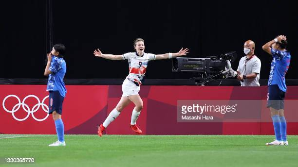 Ellen White of Team Great Britain celebrates after scoring their side's first goal during the Women's First Round Group E match between Japan and...