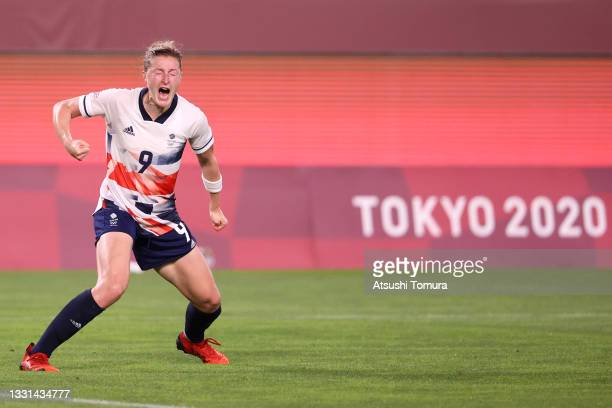Ellen White of Team Great Britain celebrates after scoring their side's first goal during the Women's Quarter Final match between Great Britain and...