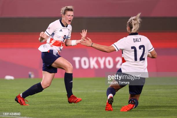 Ellen White of Team Great Britain celebrates with Rachel Daly after scoring their side's first goal during the Women's Quarter Final match between...