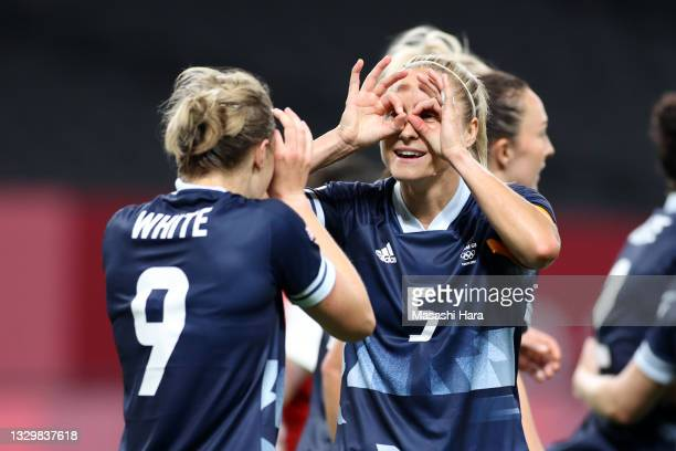 Ellen White of Team Great Britain celebrates with teammate Steph Houghton after scoring their side's second goal during the Women's First Round Group...
