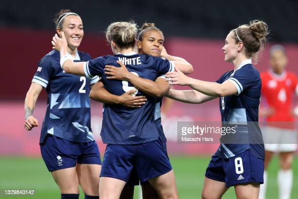Ellen White of Team Great Britain celebrates with teammates after scoring their side's second goal during the Women's First Round Group E match...