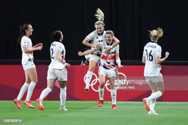Ellen White of Team Great Britain celebrates with teammates Lauren Hemp, Lucy Bronze and Caroline Weir after scoring their side's first goal during...