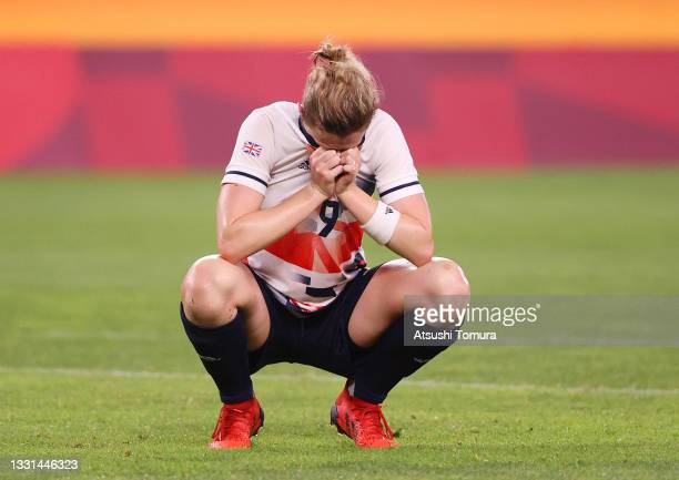Ellen White of Team Great Britain looks dejected after the Women's Quarter Final match between Great Britain and Australia on day seven of the Tokyo...