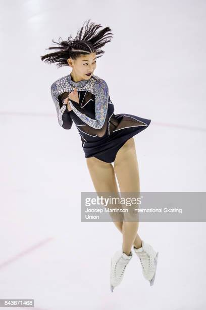 Ellen Yu of Norway competes in the Junior Ladies Short Program during day 1 of the Riga Cup ISU Junior Grand Prix of Figure Skating at Volvo Sports...