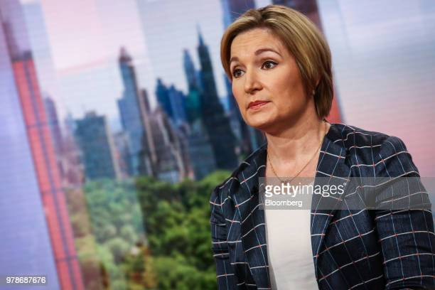Ellen Zentner managing director and chief US economist for Morgan Stanley Co listens during a Bloomberg Television interview in New York US on...