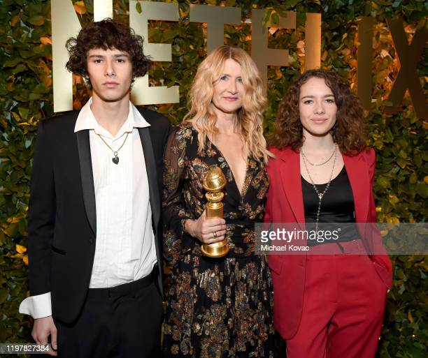 Ellery Harper, Laura Dern and Jaya Harper attend the Netflix 2020 Golden Globes After Party on January 05, 2020 in Los Angeles, California.