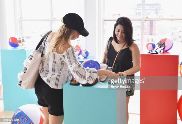 Ellery Lee and Naty Michele attends DSW Block Party hosted by Olympians Adam Rippon and Mirai Nagasu on June 27 2018 at Ramscale Studio in New York...