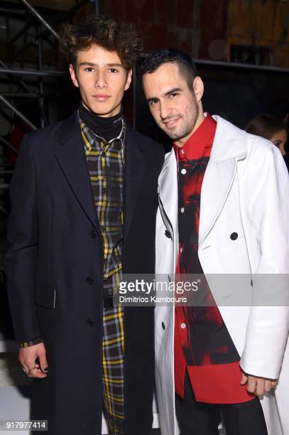 Ellery Walker Harper and JeanGeorges d'Orazio attend the Calvin Klein Collection front row during New York Fashion Week at New York Stock Exchange on...