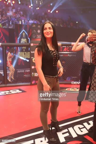 Elli Avram during the Super Fight League at Siri Fort Sports Complex on February 25 2017 in New Delhi India