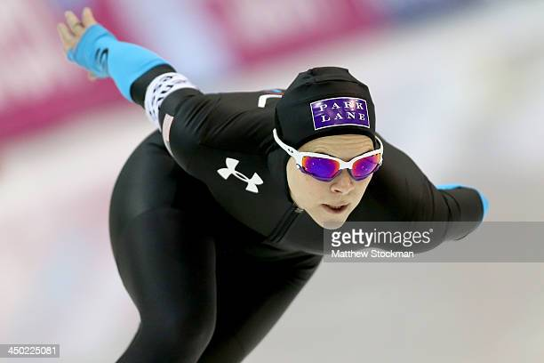 Elli Ochowicz skates in the ladies B 1000 meter during the Essent ISU Long Track World Cup at the Utah Olympic Oval on November 17 2013 in Salt Lake...
