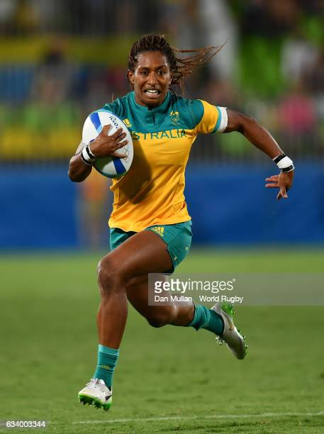 Ellia Green of Australia runs in for a try during the Women's Rugby Sevens Pool A match between Australia and Fiji on Day 1 of the 2016 Rio Olympics...