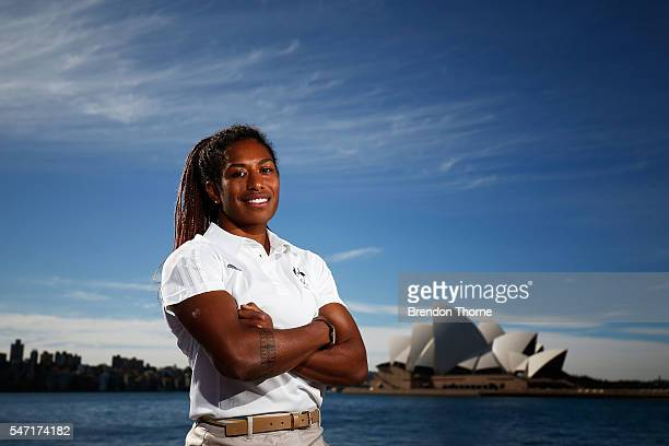 Ellia Green of the Australian Women's Sevens Rugby Team poses during the Australian Olympic Games rugby sevens team announcement at Museum of...