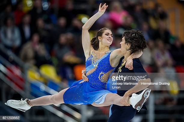 Elliana Pogrebinsky and Alex Benoit of the United States compete during Ice Dance Free Dance on day two of the Rostelecom Cup ISU Grand Prix of...