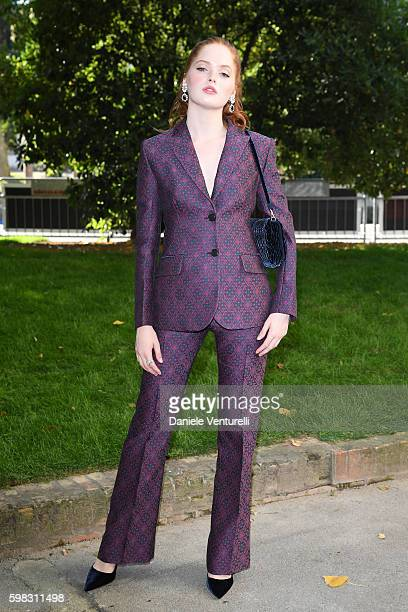 Ellie Bamber arrives at a photocall for 'Women's Tales' during the 73rd Venice Film Festival at on September 1 2016 in Venice Italy