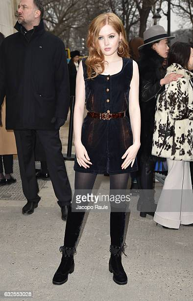 Ellie Bamber arrives at the Chanel Fashion Show during Paris Fashion Week Haute Couture F/W 20172018 on January 24 2017 in Paris France