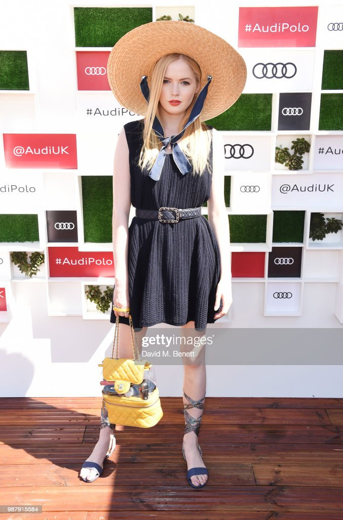 Ellie Bamber attends the Audi Polo Challenge at Coworth Park Polo Club on June 30, 2018 in Ascot, England.