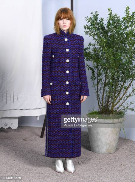 Ellie Bamber attends the Chanel Haute Couture Spring/Summer 2020 show as part of Paris Fashion Week at Grand Palais on January 21 2020 in Paris France