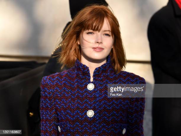 Ellie Bamber attends the Chanel Haute Couture Spring/Summer 2020 show as part of Paris Fashion Week on January 21 2020 in Paris France